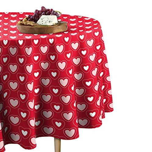 hearts stitches tablecloth round