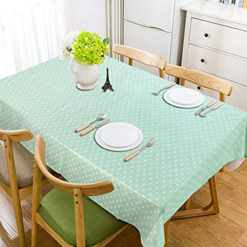 LEEVAN Rectangle Wipe Clean PVC Tablecloth Stain-Resistant/Mildew-Proof