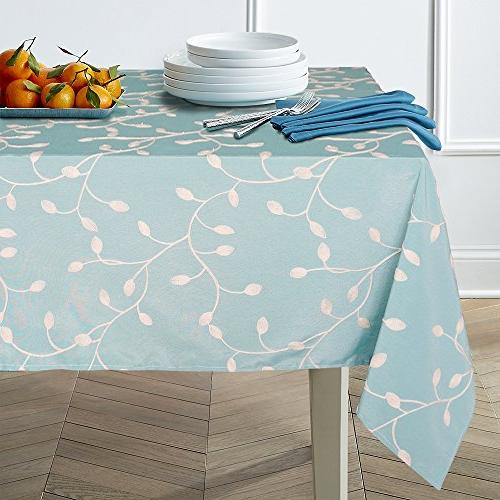 heavyweight cotton floral embroidered tablecloth