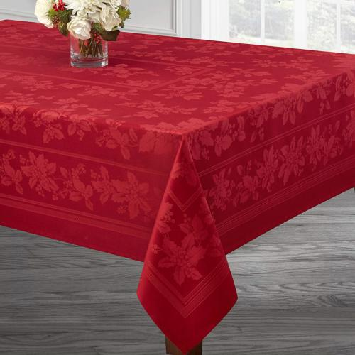 Benson Holiday Engineered Jacquard Tablecloth RED,
