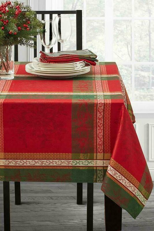 holiday legacy yarn dyed christmas tablecloth multi
