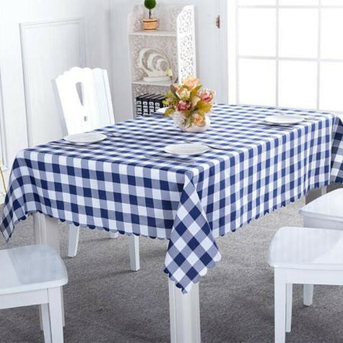 Rectangle Tablecloth Checked Plaid Home Kitchen Table Cloth