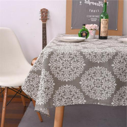 Retro Tablecloth Cotton Linen Cloth Grey
