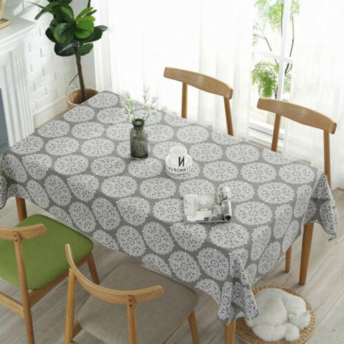 retro kitchen tablecloth cotton linen fabric rectangular