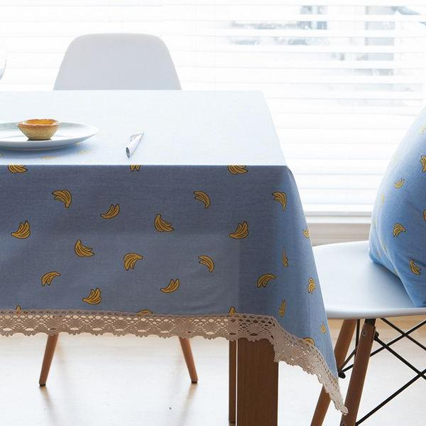 Linen Cloth Banana Printed Lace Rectangular <font><b>Kitchen</b></font> Shipping