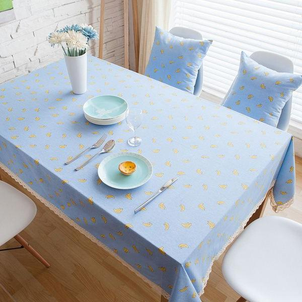 linen cotton table cloth banana printed blue