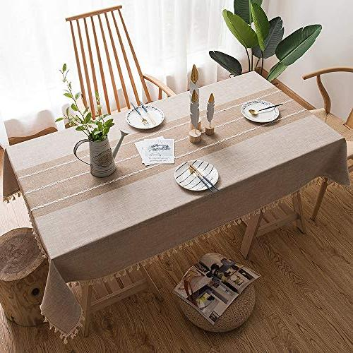 fiercewolf Tassel Table Cloth Heavy Weight Fabric Dust-Proof Table Cover for Dinning, 55