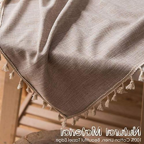 fiercewolf Linen Rectangle Tablecloth Weight Fabric Table Cover for Dinning, x 86