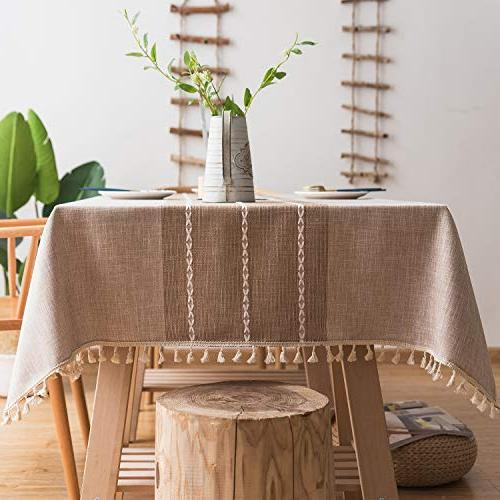 linen rectangle tablecloth tassel table