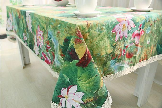 Lotus Cotton Chinese Style Rectangle Cover Green Tablecloth GQ30