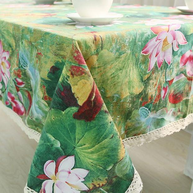 Lotus Cotton Chinese Style Vintage Flower Rectangle Tablecloth with Edge GQ30