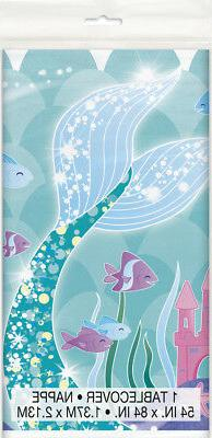 MERMAID PLASTIC TABLE COVER ~ Birthday Party Supplies Decora