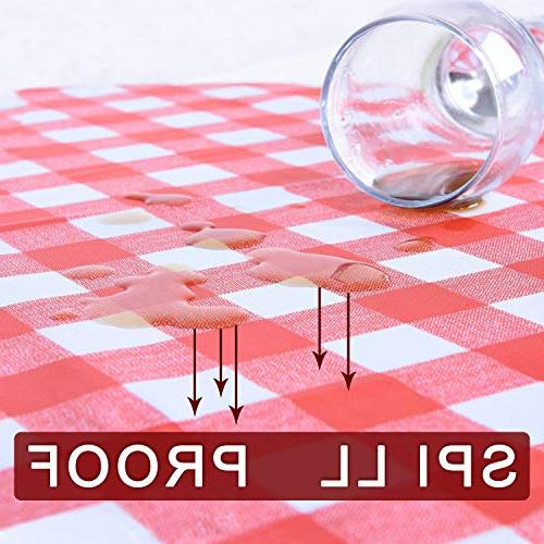 YEMYHOM 100% Polyester Spillproof Tablecloths for 60 x 84 Indoor Camping Picnic Rectangular Table Cloth