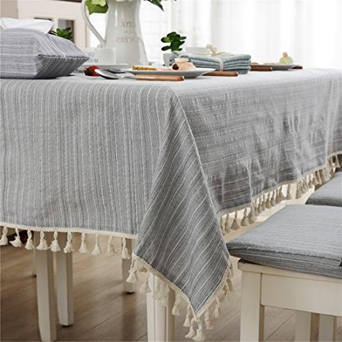 modern simple cotton grey striped tablecloth party dining ro