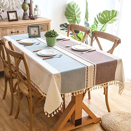 Crossoft Stitching Tassel Tablecloths Linen Cotton Dust-Proof Cover for Kitchen
