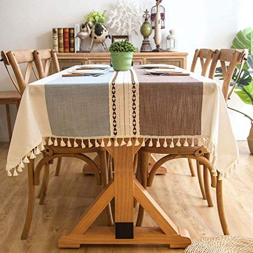 Crossoft Tablecloths Cotton Dust-Proof Kitchen Dinning Tabletop