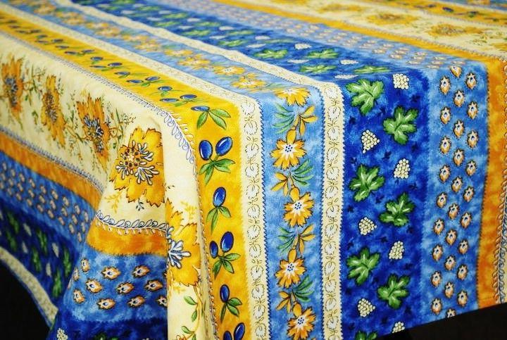 monaco blue french provence coated cotton tablecloth