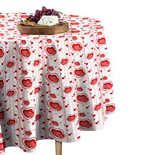 multi hearts stripes tablecloth round