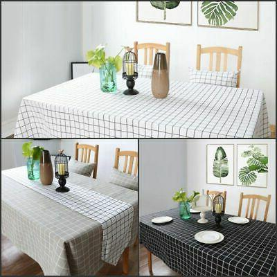 Cotton Linen Checked Kitchen Cover Home Table