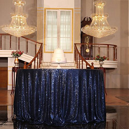 navy blue sequin tablecloth round