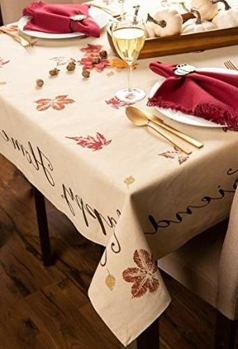Machine Washable Thanksgiving Kitchen Tablecloth