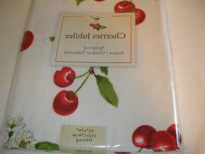 New! Fabric Floral Cherries Tablecloth Dining Kitchen Table