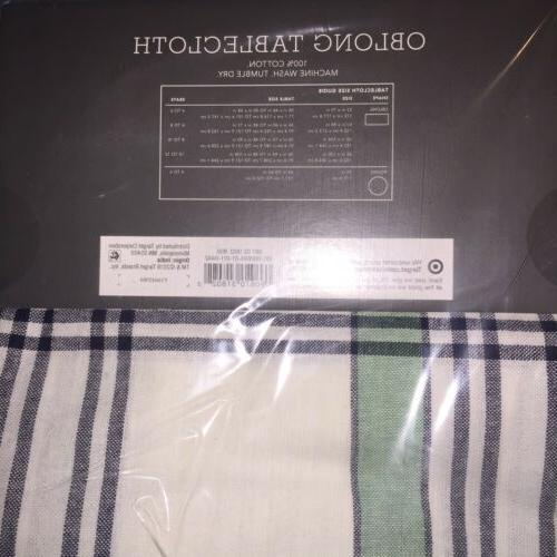 NEW~ Plaid Oblong Tablecloth 60x104 Spring Green