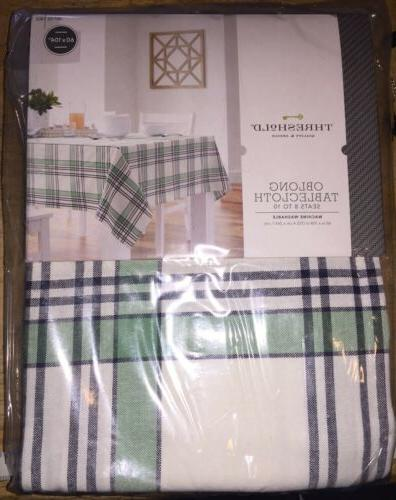 NEW~ Plaid Tablecloth Fabric Table 60x104 Green