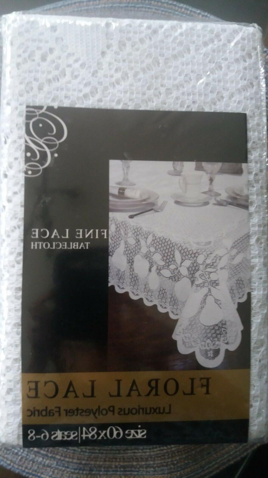 NEW WHITE Fine Lace FABRIC Tablecloth Linens Rectangle 60 x