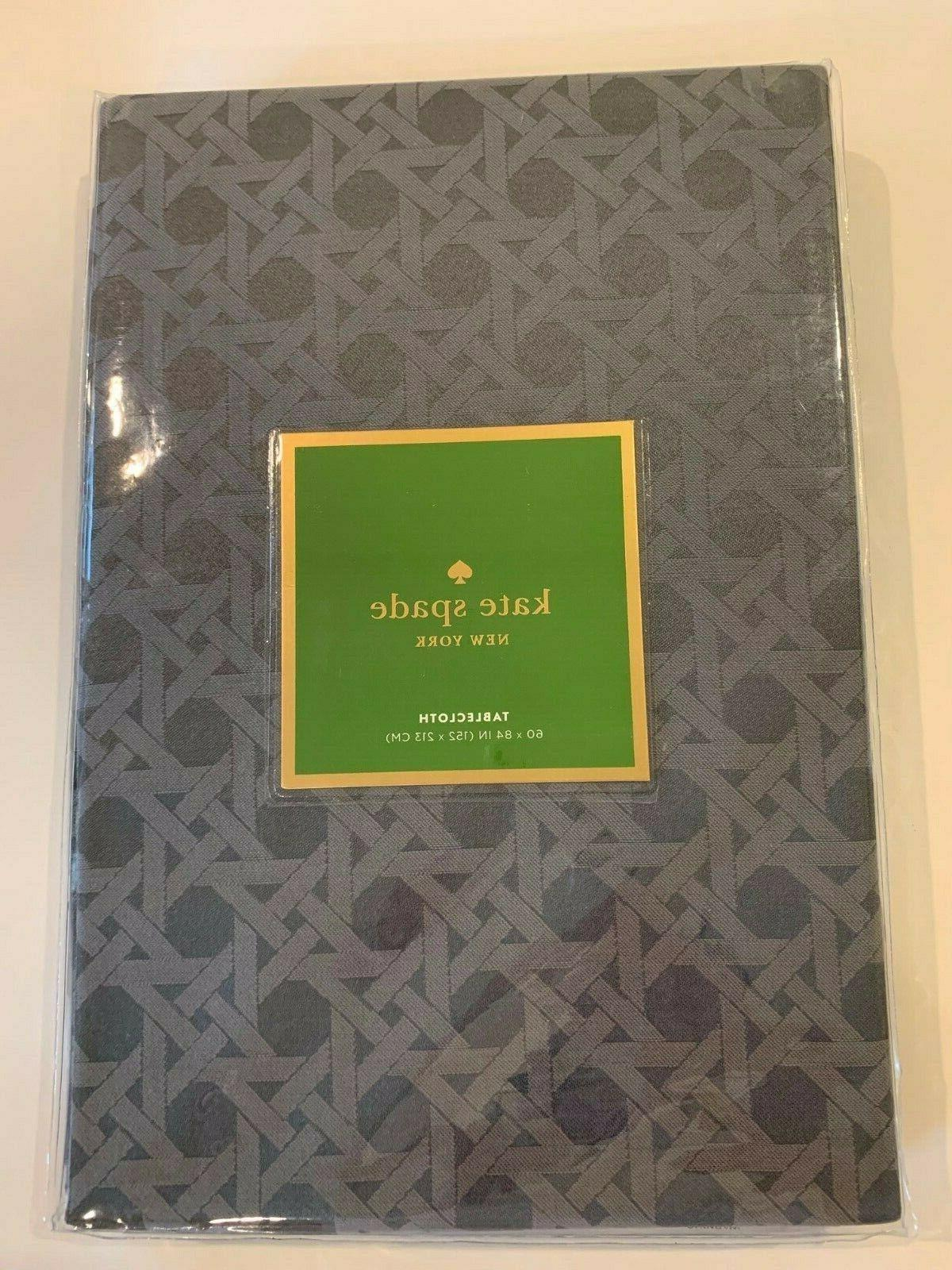 "Kate Spade York Cafe Canning Cotton Table Cloth 60"" 84"", gray"