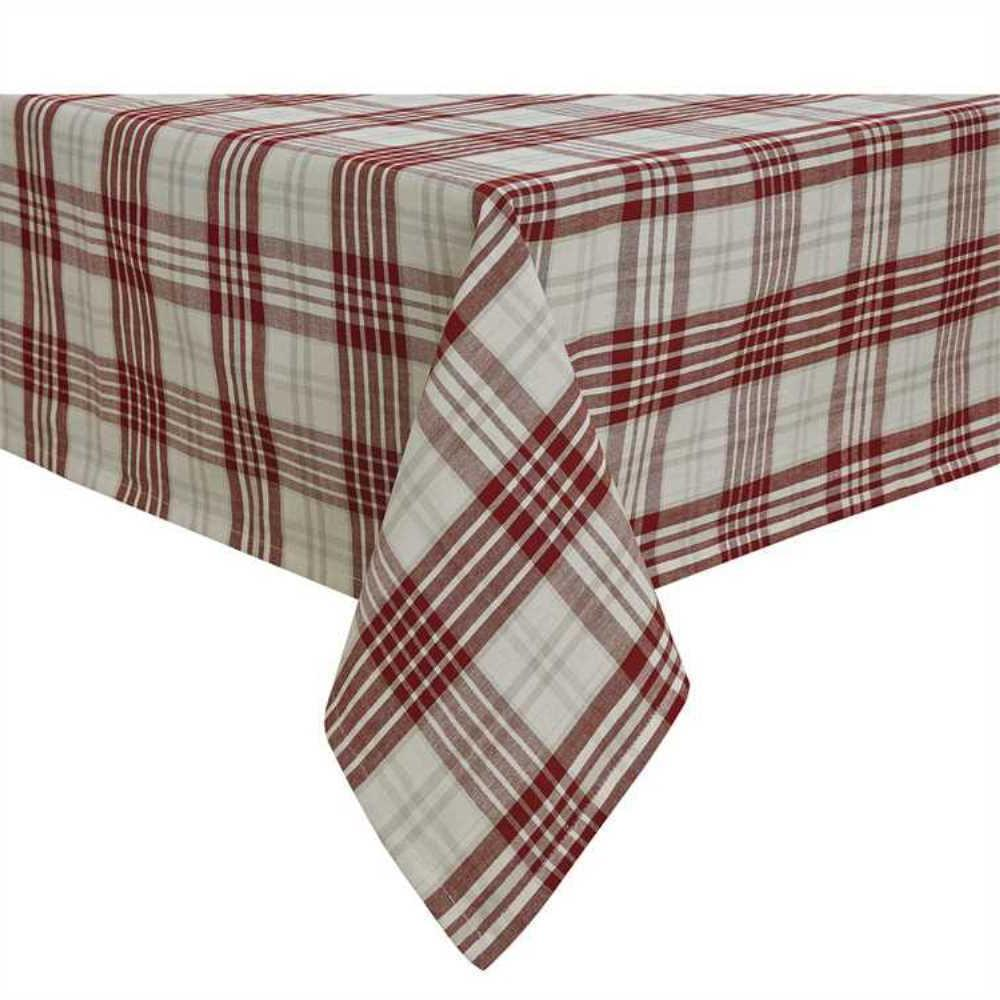 peppermint plaid table cloth 54x54 red ivory