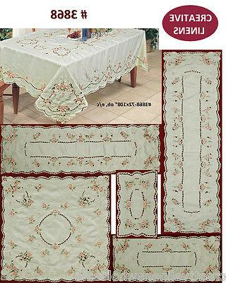 pink rose daisy spring embroidered floral placemat