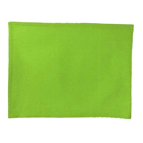 Chelsea Placemats Kitchen Dining Fabric Geometric Rectangular Mats Bright Lime Washable White Set