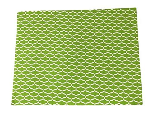Chelsea Home Cotton Kitchen Dining Fabric Solid Geometric Pattern Rectangular Cloth Place Mats Bright Lime White Set of