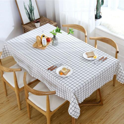 Slipcover Rectangular Kitchen Table Cloth Dining Cover Decor US