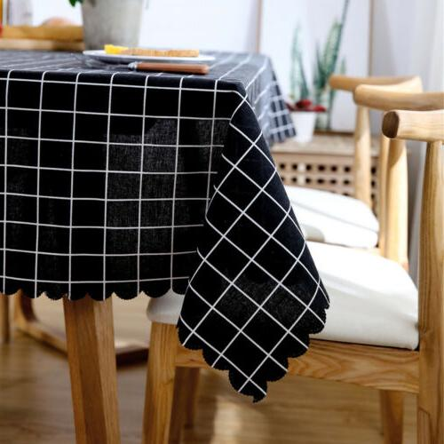Simple Polyester Flax Tablecloth Oilproof