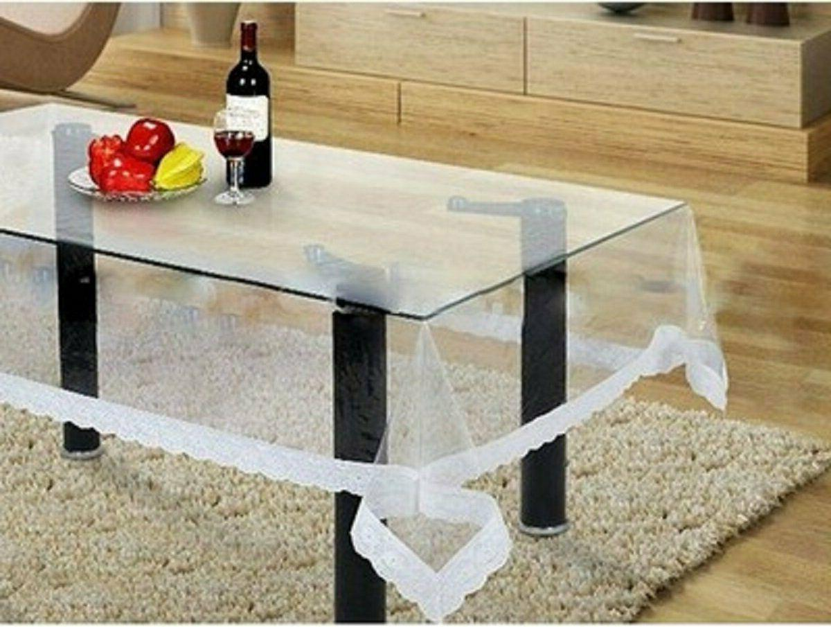 PVC Center Table Cover -White Linens