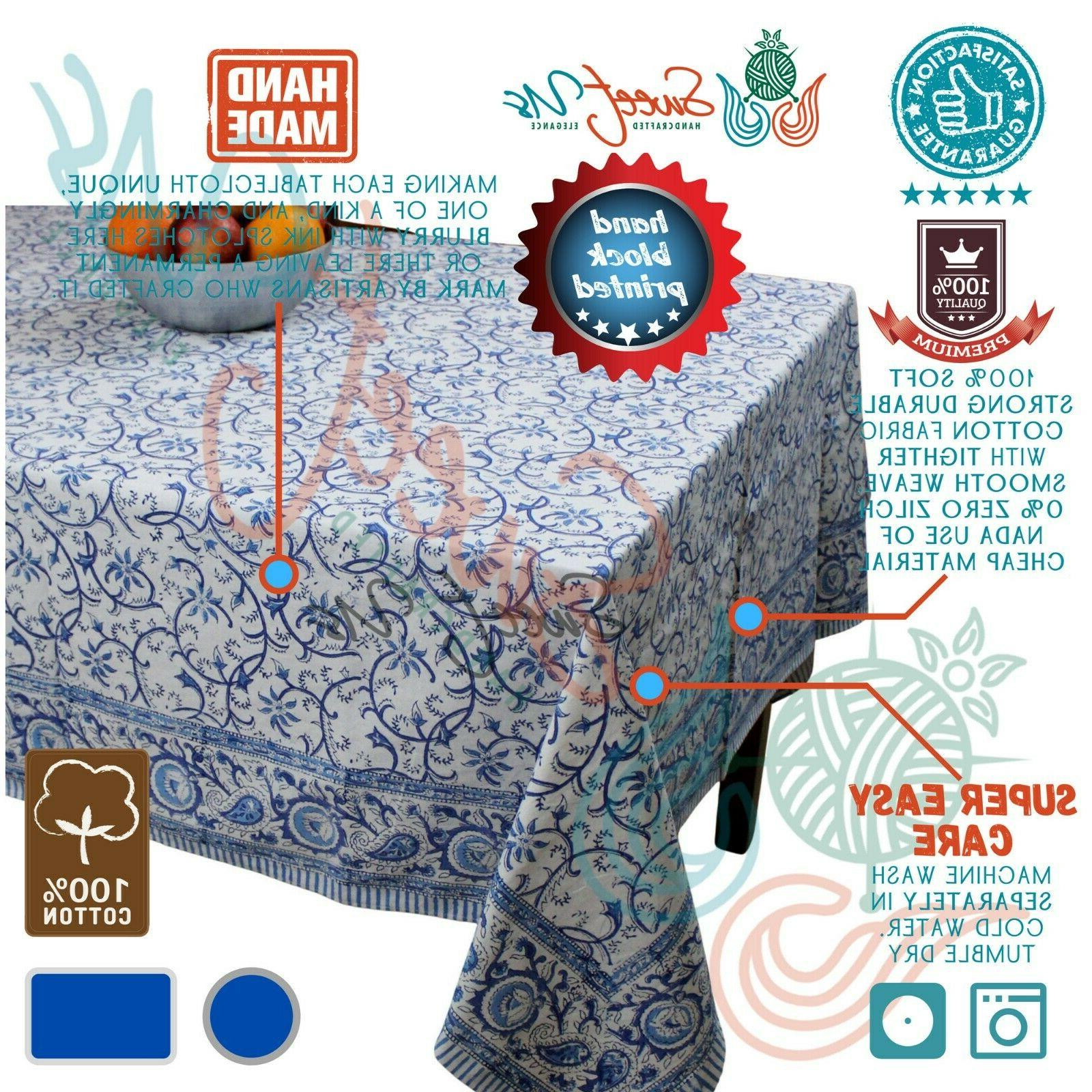 rajasthan floral vine cotton block print tablecloth