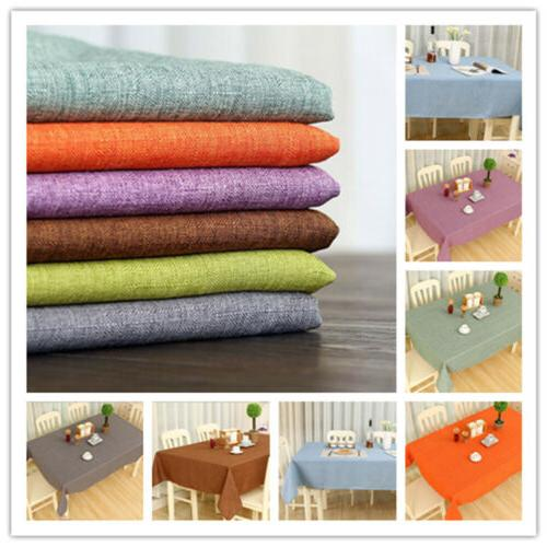 Rectangle Cotton Linen Solid Plain Tablecloth Table Cover Cl