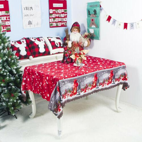 Christmas Table Cloth Cover Decor Tablecloth Party Holiday X