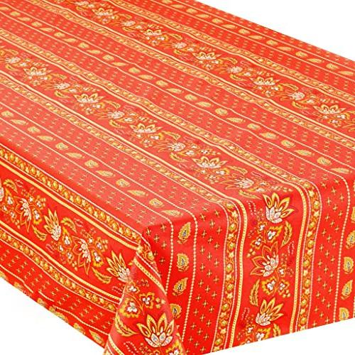 """60x96"""" Red Cotton Coated Provence Tablecloth by Le Cluny"""