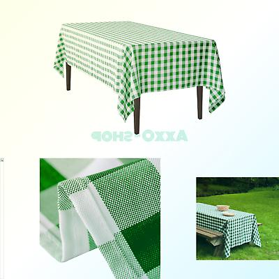 rectangular polyester tablecloth green white