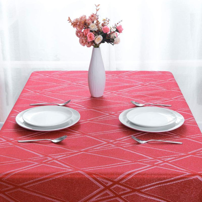 Hiasan Tablecloth Square With Lines Wrinkle Resistant