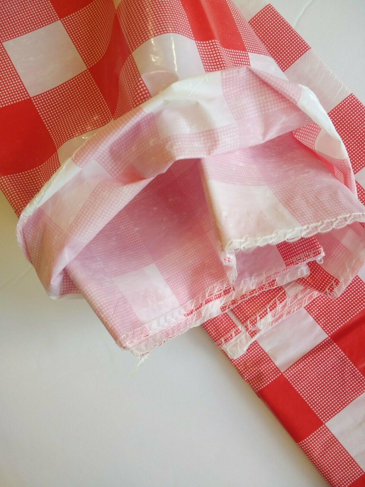 """Red/White Check 54"""" Camping Tablecloth New!"""
