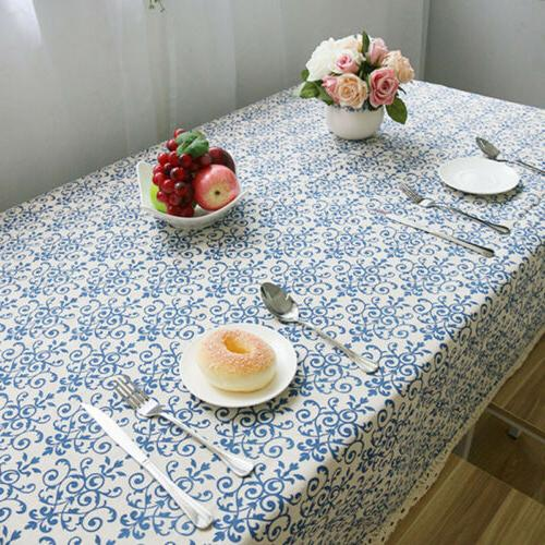 Blue and White Porcelain Table Cover Cloth Cotton Linen Tabl