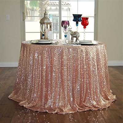 rose gold 72 round sequin tablecloth christmas