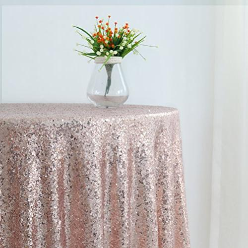 GFCC 96'' Rose Sequin Cloth Cover Wedding Party Christmas Decoration Supplies