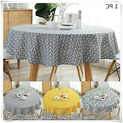 Table Cover Cloth Party Holiday Tablecloth Round Cotton Blen
