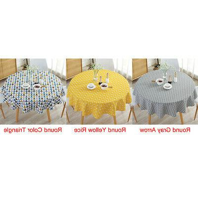 Table Printed Cotton Linen Round for