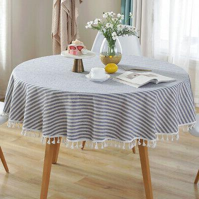 Cotton Linen Tablecloth Striped Round Tassel Cloth Cover